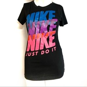 Nike Sri-fit slim fit black neon spell out shirt